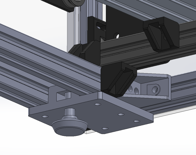 CAD model with placement of printed mounting blocks.